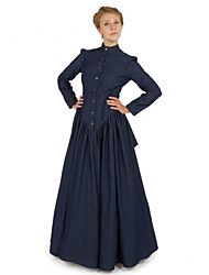 cheap -Duchess Victorian Ball Gown 1910s Edwardian Dress Party Costume Women's Costume Ink Blue Vintage Cosplay Masquerade Long Sleeve Floor Length Long Length Ball Gown Plus Size
