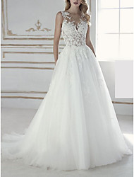 cheap -A-Line Jewel Neck Court Train Lace / Tulle Regular Straps Wedding Dresses with Beading / Appliques 2020