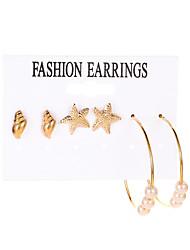 cheap -Women's Ear Piercing Hoop Earrings Earrings Classic Starfish Earrings Jewelry Gold For Graduation Engagement Gift Work Festival