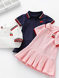 cheap -Kids Girls' Basic Fruit Short Sleeve Above Knee Dress White