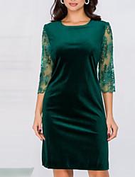 cheap -Sheath / Column Jewel Neck Knee Length Velvet Elegant / Green Wedding Guest / Cocktail Party Dress with Lace Insert 2020