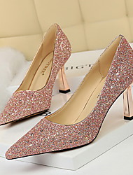 cheap -Women's Heels Flared Heel Pointed Toe Sequin Synthetics Business / Vintage Spring &  Fall / Spring & Summer Black / White / Champagne / Party & Evening