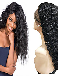 cheap -Remy Human Hair Unprocessed Virgin Hair Lace Front Wig Free Part style Brazilian Hair Peruvian Hair Water Wave Black Wig 150% Density Best Quality Hot Sale 100% Virgin Comfy Coloring Women's Long