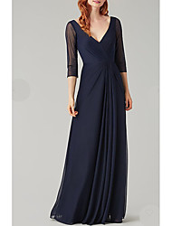 cheap -A-Line Plunging Neck Floor Length Chiffon / Tulle Bridesmaid Dress with Pleats / Open Back