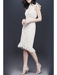cheap -Sheath / Column High Neck Knee Length Lace Bridesmaid Dress with Ruffles