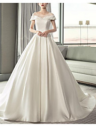 cheap -A-Line Jewel Neck Court Train Polyester Dress with Lace Insert by LAN TING Express