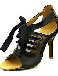 cheap -Women's Dance Shoes Leather Latin Shoes Ribbon Tie Heel Slim High Heel Black
