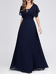 cheap -A-Line V Neck Maxi Polyester Bridesmaid Dress with Tier