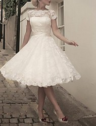 cheap -A-Line Wedding Dresses Jewel Neck Tea Length Lace Short Sleeve Vintage Little White Dress 1950s with Bow(s) 2020