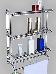 cheap -Multifunction Bathroom Shelf with Hooks Contemporary Metal Wall Mounted Bathroom  3-tier Shelf Silvery 1PC