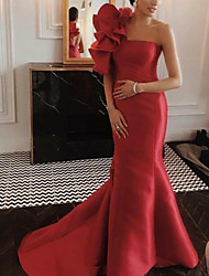 cheap -Mermaid / Trumpet Floral Red Engagement Formal Evening Dress One Shoulder Sleeveless Court Train Satin with Ruffles 2020