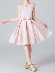 cheap -A-Line Knee Length Pageant Flower Girl Dresses - Polyester Sleeveless Jewel Neck with Pleats