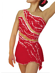 cheap -Figure Skating Dress Women's Girls' Ice Skating Dress Black White Sky Blue Patchwork Spandex High Elasticity Competition Skating Wear Handmade Patchwork Crystal / Rhinestone Sleeveless Ice Skating