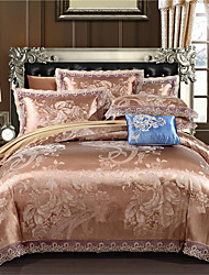 cheap -Duvet Cover Sets Geometric Floral Botanical Cotton Jacquard 4 Piece Bedding Set With Pillowcase Bed Linen Sheet Single Double Queen King Size