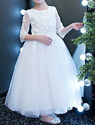 cheap -A-Line Ankle Length First Communion Flower Girl Dresses - Polyester Half Sleeve Jewel Neck with Lace