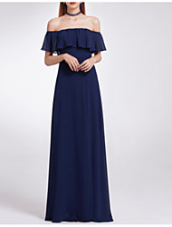 cheap -A-Line Off Shoulder Floor Length Polyester Bridesmaid Dress with Draping / Open Back