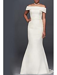 abordables -Trompette / Sirène Epaules Dénudées Traîne Brosse Taffetas Manches Courtes Pour tous les jours Transparent Robes de mariée sur mesure avec Boutons 2020