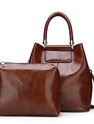cheap -Women's Zipper Faux Leather / PU Bag Set Solid Color 2 Pieces Purse Set Black / Brown / Blue