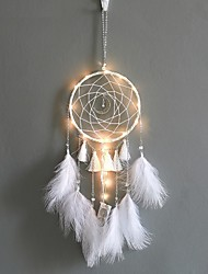 cheap -Home Decoration Dream Catcher With Lights Feathers Hand-Woven Ornaments Birthday Graduation Gift Wall Hanging Decor