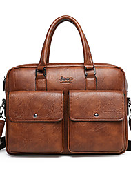 cheap -Men's Zipper PU Leather Briefcase Handbags Dark Brown / Black / Brown
