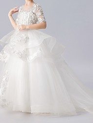 cheap -Ball Gown Sweep / Brush Train Flower Girl Dress - Polyester Half Sleeve Jewel Neck with Appliques / Tiered