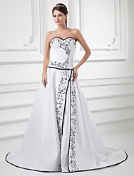 cheap -A-Line Sweetheart Neckline Court Train Satin Strapless Wedding Dresses with Embroidery 2020