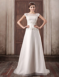cheap -A-Line Wedding Dresses Jewel Neck Court Train Satin Tulle Cap Sleeve with Sashes / Ribbons Beading Appliques 2020