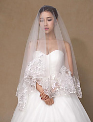 cheap -One-tier Stylish / Lace Wedding Veil Chapel Veils with Sequin 59.06 in (150cm) Lace / Tulle / Angel cut / Waterfall