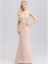 cheap -Mermaid / Trumpet V Neck Maxi Polyester / Nylon / Spandex Bridesmaid Dress with Lace