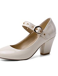 cheap -Women's Heels Chunky Heel Round Toe Patent Leather Casual / Sweet Walking Shoes Fall / Spring & Summer Black / White / Yellow / Party & Evening