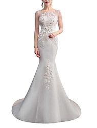 cheap -Mermaid / Trumpet Jewel Neck Sweep / Brush Train Lace / Tulle Half Sleeve Wedding Dresses with Crystals / Appliques 2020