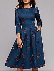cheap -Women's Navy Blue Dress Boho Swing Geometric S M Slim