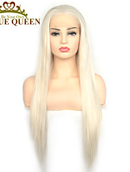 cheap -Synthetic Lace Front Wig Straight with Baby Hair Lace Front Wig Very Long Platinum Blonde Synthetic Hair 22-26 inch Women's Cosplay Synthetic Easy dressing Blonde