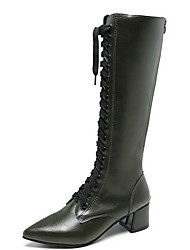 cheap -Women's Boots Chunky Heel Pointed Toe PU Knee High Boots Winter Black / Dark Green
