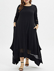 cheap -Women's Asymmetrical Plus Size Black Dress Casual A Line Solid Colored XL XXL