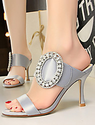 cheap -Women's Sandals Stiletto Heel Open Toe Rhinestone / Sparkling Glitter Satin Business / Vintage Spring &  Fall / Spring & Summer Black / Camel / White / Party & Evening