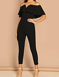 cheap -Women's Street chic Black Wine Blue Jumpsuit Onesie, Solid Colored S M L