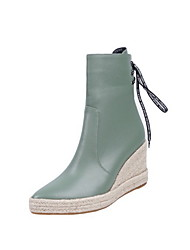 cheap -Women's Boots Wedge Heel Round Toe PU Booties / Ankle Boots Fall & Winter Black / Green / Beige