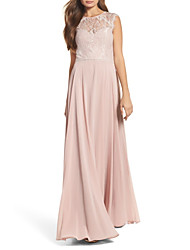 cheap -A-Line Jewel Neck Floor Length Chiffon / Lace Bridesmaid Dress with Lace