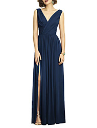 cheap -A-Line V Neck Floor Length Chiffon Dress with Split Front / Ruched / Pleats by LAN TING Express