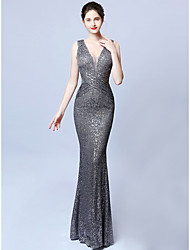 cheap -Mermaid / Trumpet Plunging Neck Sweep / Brush Train Sequined Dress with Sequin by LAN TING Express