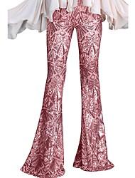 cheap -Women's Basic Wide Leg Pants - Print Black Blushing Pink Blue S M L