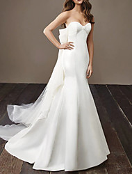 cheap -Mermaid / Trumpet Sweetheart Neckline Court Train Tulle / Stretch Satin Strapless Modern / Elegant Wedding Dresses with Draping 2020