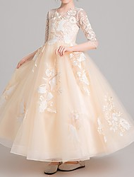 cheap -Ball Gown Ankle Length Pageant Flower Girl Dresses - Polyester Half Sleeve Jewel Neck with Embroidery / Appliques