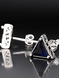 cheap -Men's Stud Earrings Geometrical Precious Fashion Silver Plated Earrings Jewelry White / Black / Blue For Street Daily Work 1 Pair