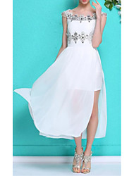 cheap -A-Line Scoop Neck Knee Length Chiffon / Lace Dress with Beading / Split Front / Pleats by LAN TING Express