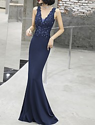 cheap -Sheath / Column Plunging Neck Floor Length Polyester Dress with Beading / Appliques by LAN TING Express