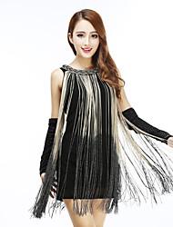 cheap -Flapper Girl Retro Vintage 1920s Summer Flapper Dress Masquerade Women's Sequins Costume Black / White / Almond Vintage Cosplay Party Halloween Masquerade Sleeveless