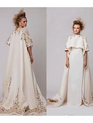 cheap -A-Line Jewel Neck Watteau Train Satin Elegant Formal Evening Dress with Beading / Appliques 2020