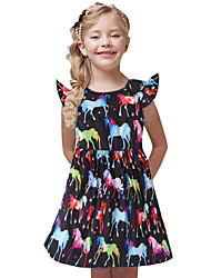 cheap -Toddler Girls' Sweet Cute Unicorn Solid Colored Animal Cartoon Long Sleeve Knee-length Dress Black